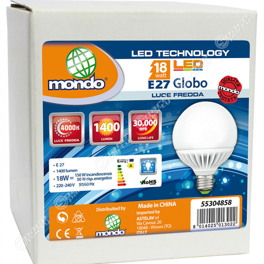 Lampadina led globo luce fredda 18w e27 spareparty for Lampadina e27 led